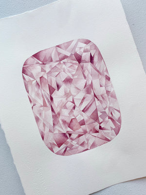Original Painting - Watercolor Pink Diamond Painting 11x15 inches