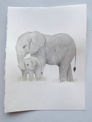 Original Painting - Watercolor Elephant & Baby Painting 11x15 inches
