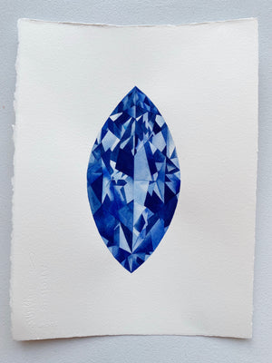 Original Painting - Watercolor Sapphire Marquise Gem 11x15 inches