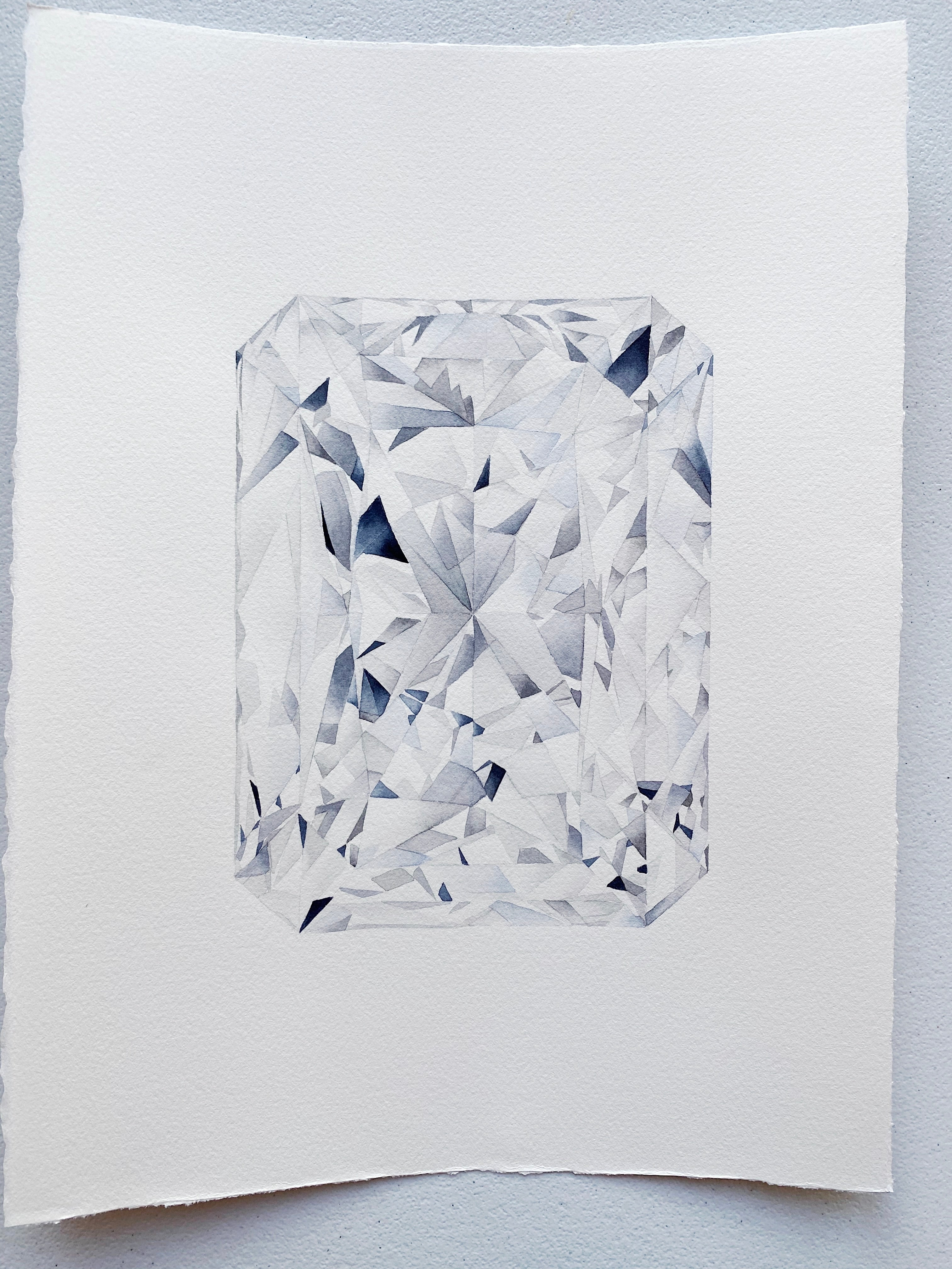 Original Painting - Watercolor Radiant Cut Diamond Painting 11x15 inches
