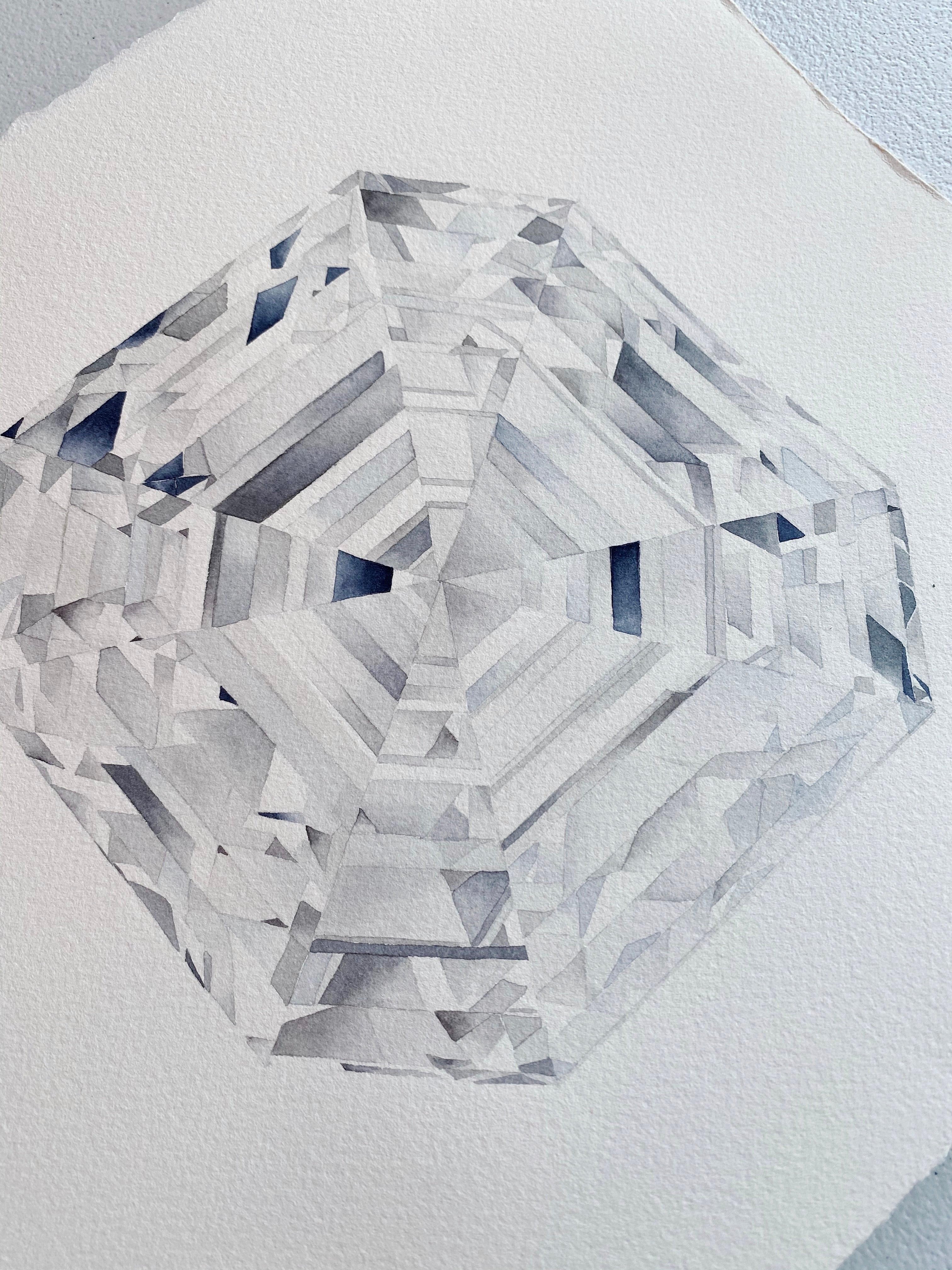 Original Painting - Watercolor Asscher Cut Diamond Painting 11x15 inches