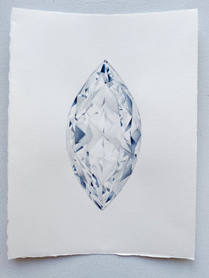 Original Painting - Watercolor Marquise Cut Diamond Painting 11x15 inches