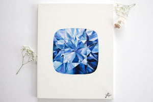 Original Painting - Watercolor Sapphire on Canvas