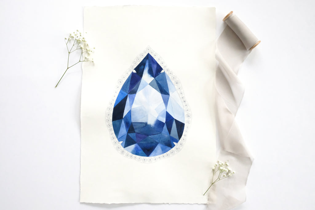 Original Painting - Watercolor Sapphire Pear Gem
