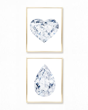 Watercolor Diamond Paintings - Set of 2 - Heart + Pear