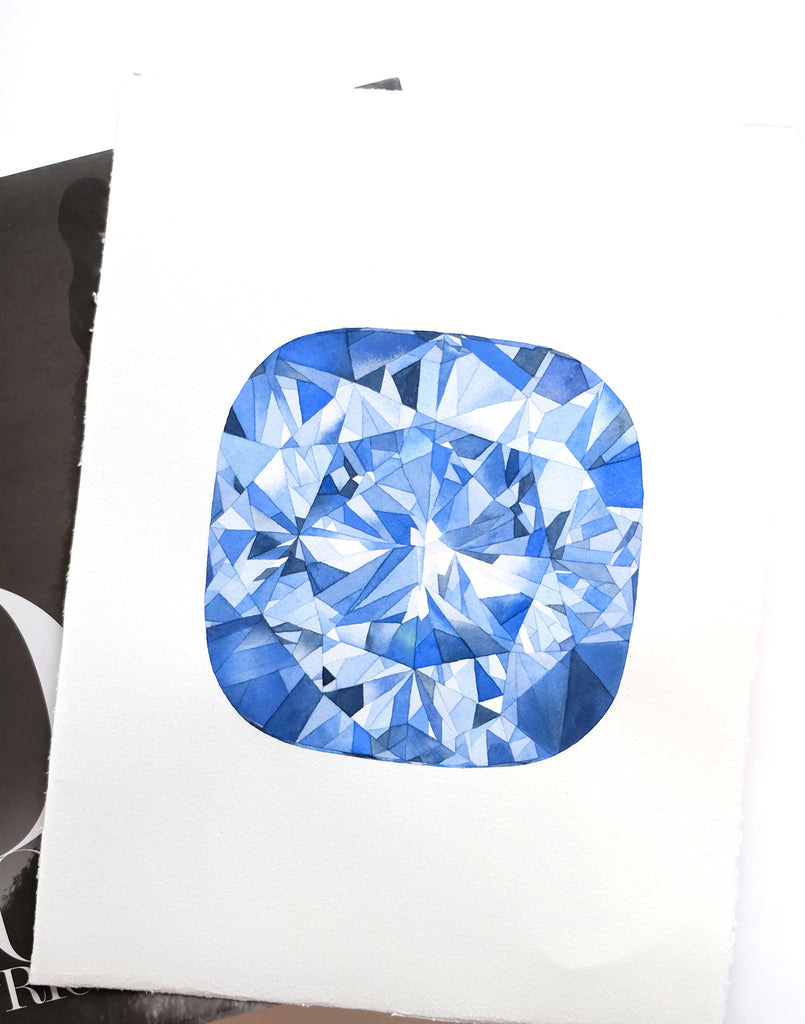 Original Painting - Watercolor Sapphire Gem 11x15