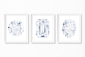 Watercolor Diamond Paintings - Set of 3 Art Prints