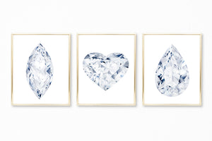 Watercolor Diamond Paintings - Set of 3 (Heart, Marquise, Pear)