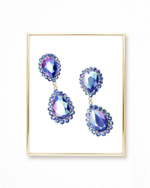 Watercolor Gemstone Earrings Painting - Jewelry Painting - Art Print