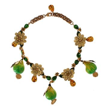 Dolce & Gabbana FIG Fruit Sicily Crystal Necklace - Designer Jewelry On Sale For Less
