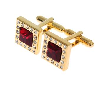 Dolce & Gabbana  Gold Brass Clear Red Crystal Cufflinks Buy Cufflinks for Less on LUXEWOW.COM