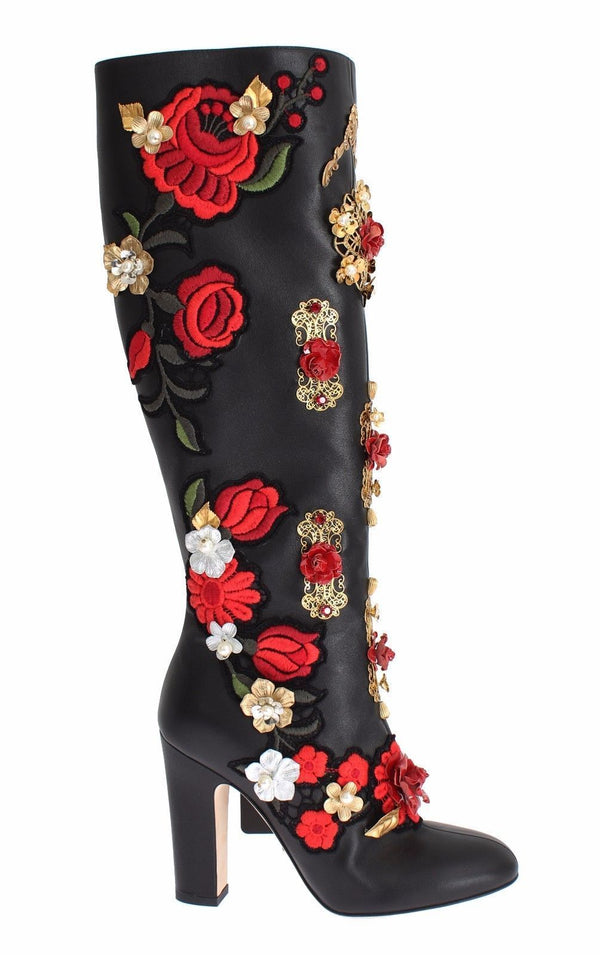 Dolce & Gabbana Red Roses Crystal Gold Heart Black Leather Boots
