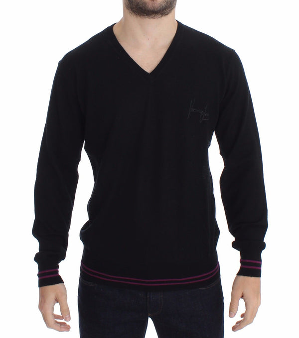 Black Wool V-neck Pullover Sweater