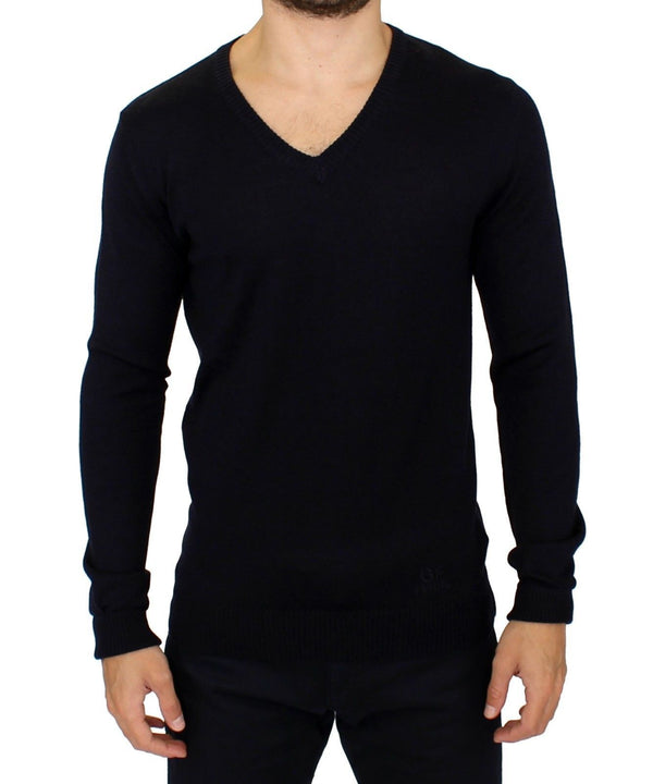 Blue Wool Blend Mens V-neck Sweater