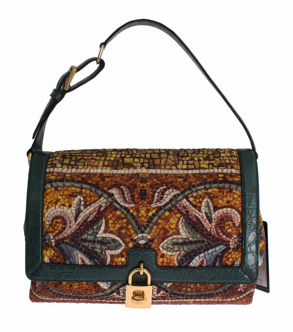 7ef9e24b3b MISS BONITA Mosaic Brocade Crocodile Hand Shoulder Bag - Designer Clothes