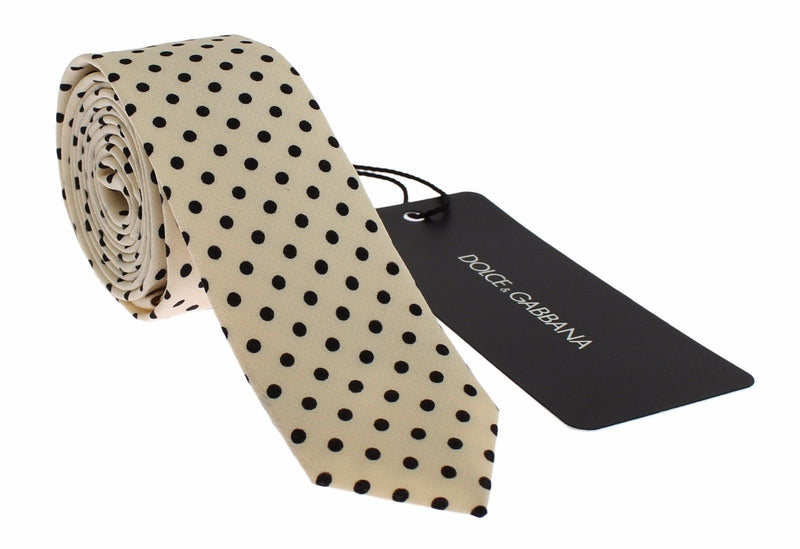 White Black Polka Dot Silk Slim Tie