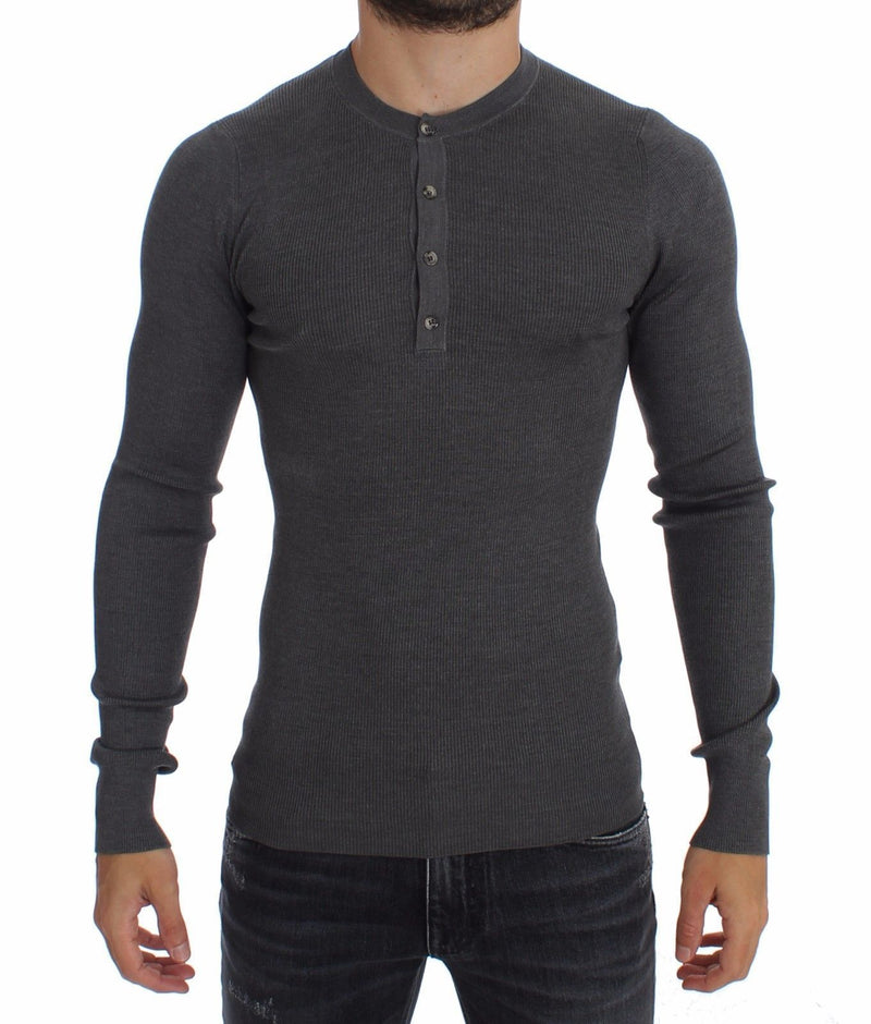 Gray Silk Henley Button Sweater