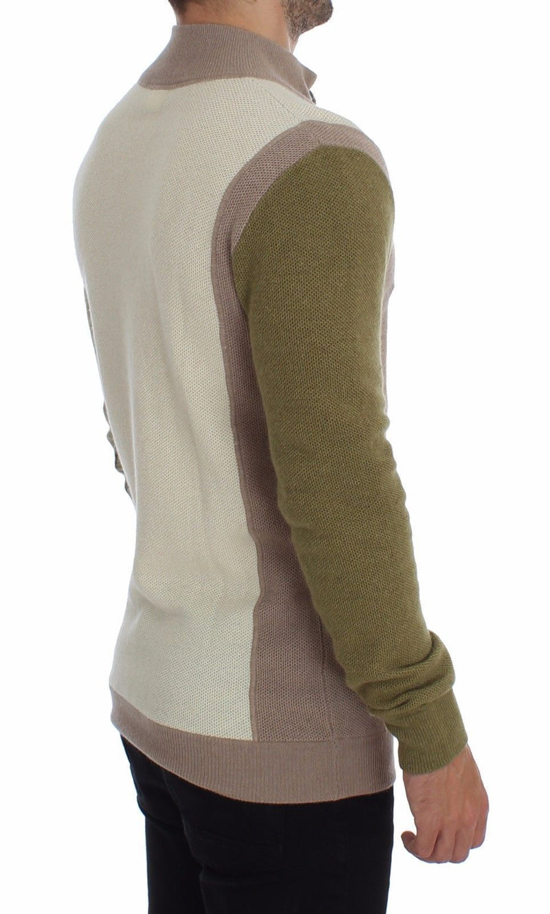 Beige Green Wool Blend Zipper Cardigan Sweater