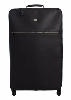 Luggage Bag Black Leather Travel Suitcase Trolley