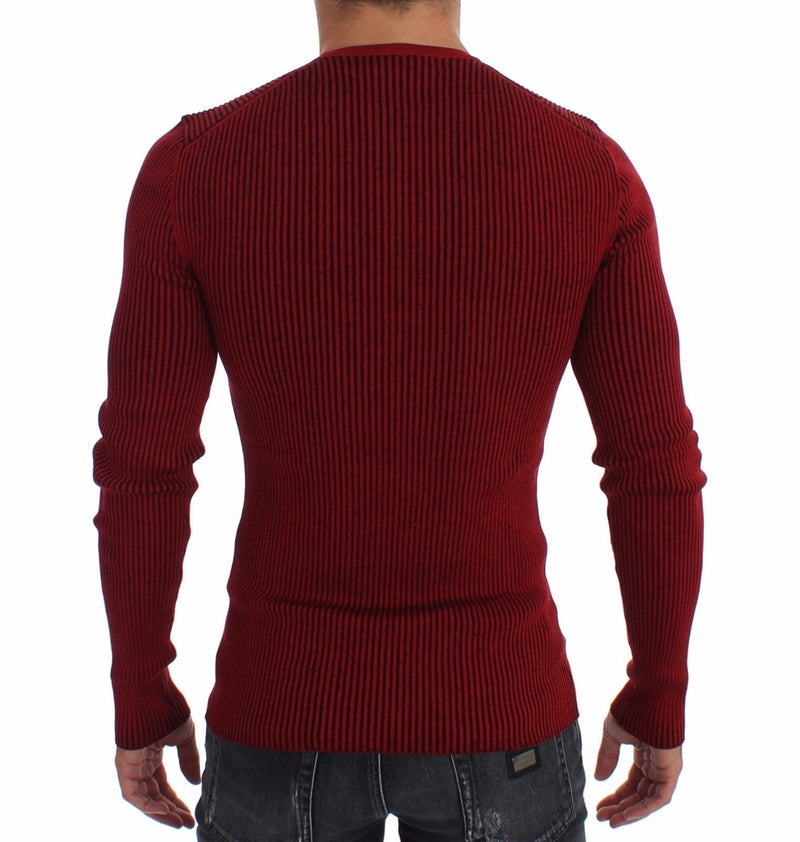 Red Silk Crewneck Ribbed Sweater