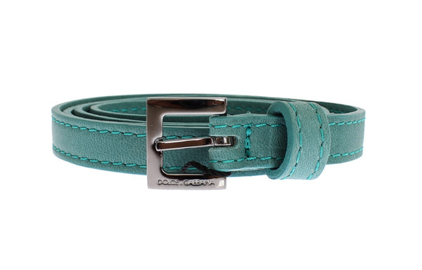Green Leather Silver Buckle Logo Belt