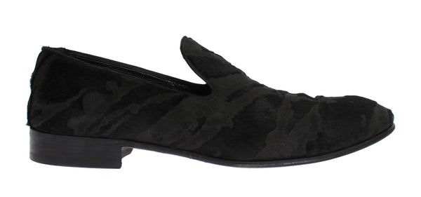 Black Leather Pony Hair Loafers