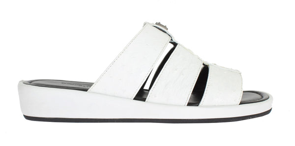 White Ostrich Leather Slides Sandals