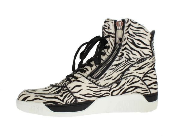 White Black Pony Hair High Sneakers