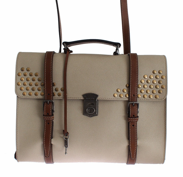 Bag Beige Studded Leather Backpack