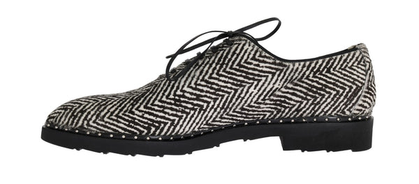 Black White Zig Zag Pony Hair Shoes