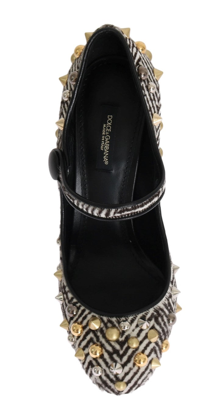 Black White Pony Hair Studded Leather Shoes