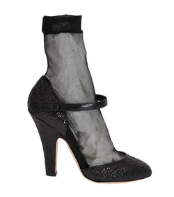 Black Leather Socks Glitter Pumps