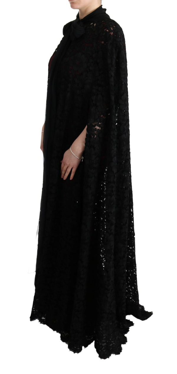 Black Floral Lace Maxi Dress