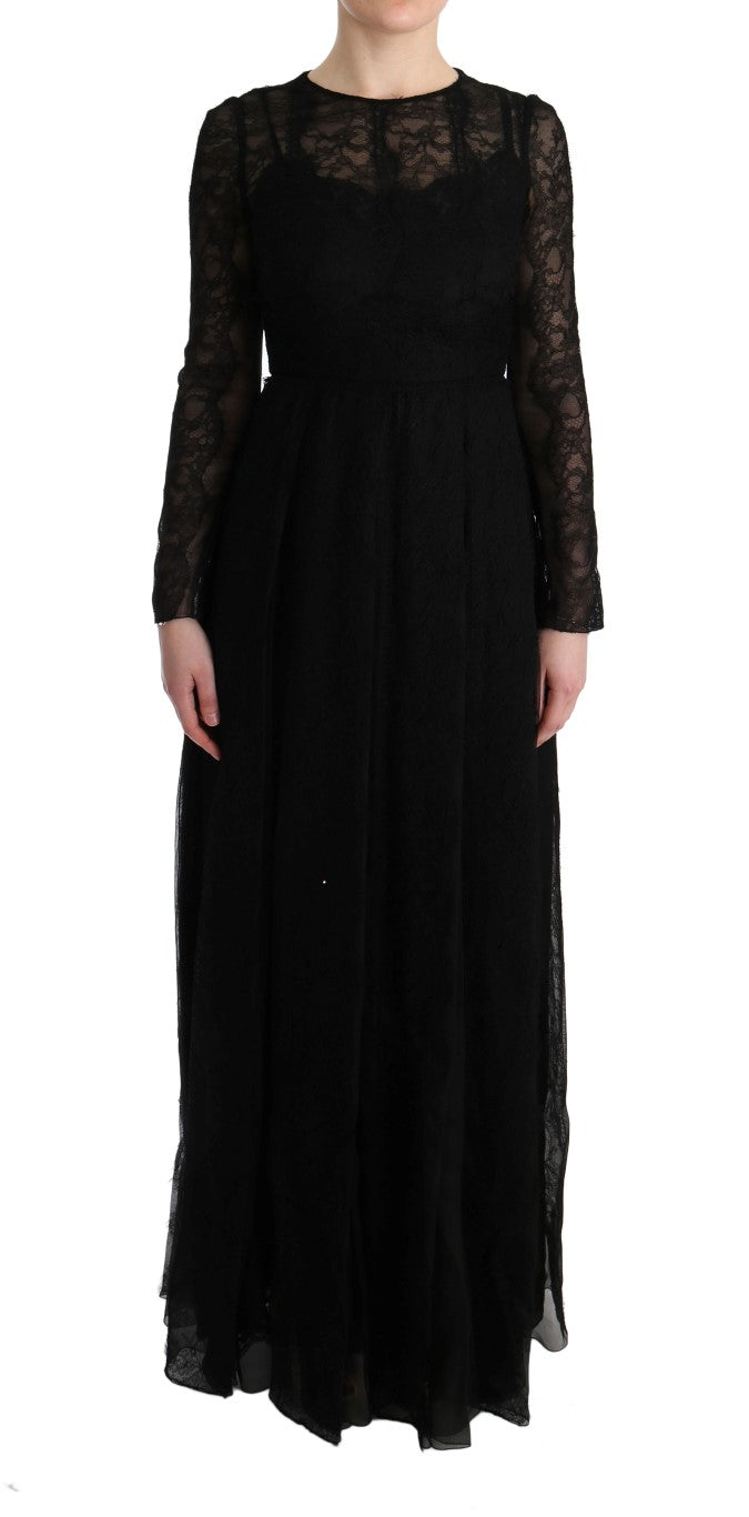 Black Floral Lace Sheath Silk Dress