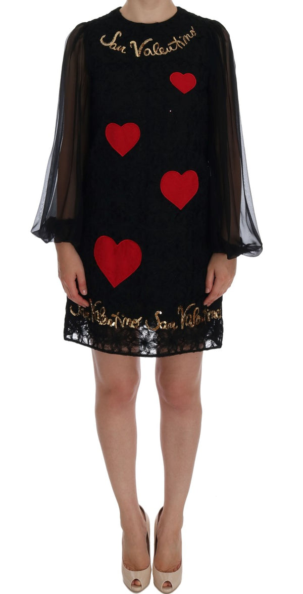 Black San Valentino Sequined Shift Dress
