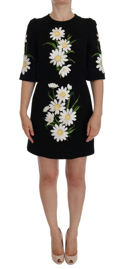 Black Chamomile Print Wool Stretch Dress