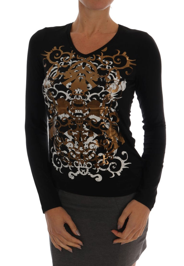 Black Baroque Stretch Pullover Sweater