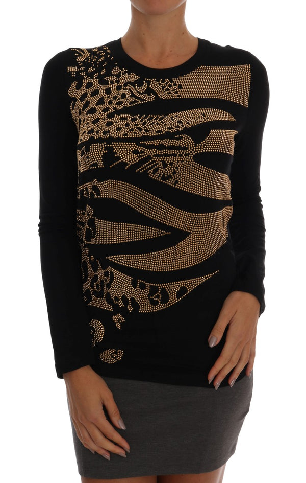 Black Gold Studded Stretch Pullover Sweater