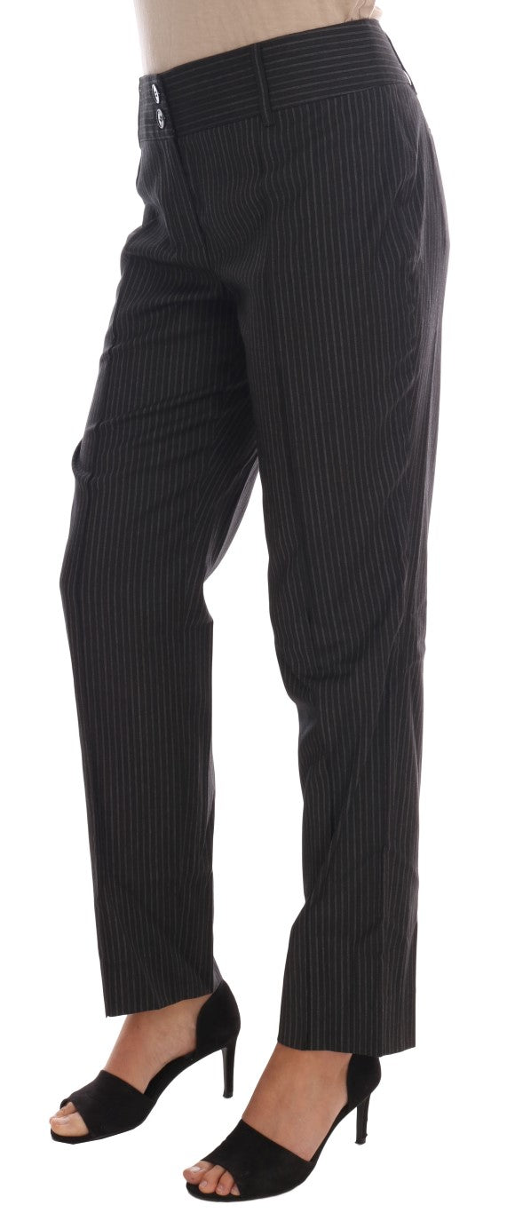 Gray Wool Stretch Slim Dress Pants