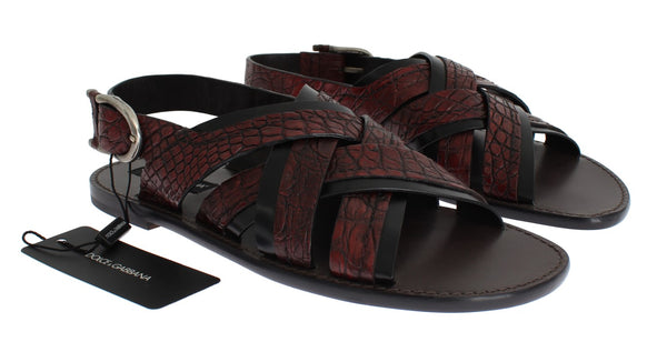 Red Black Crocodile Leather Sandal Shoes