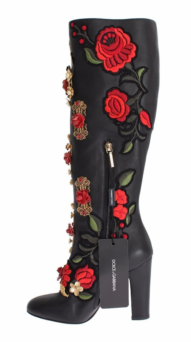fc085a52162 Dolce & Gabbana Red Roses Crystal Gold Heart Black Leather Boots
