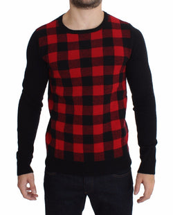 Red Black Wool Crewneck Sweater