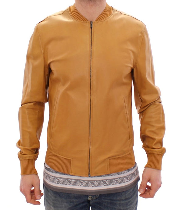 Yellow Leather Silk Jacket Coat