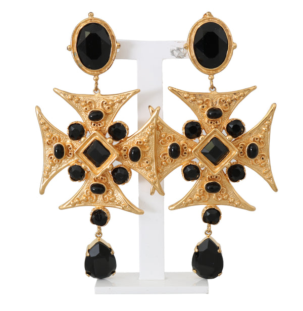 Gold Brass Cross Black Crystal ClipOn Dangling Earrings