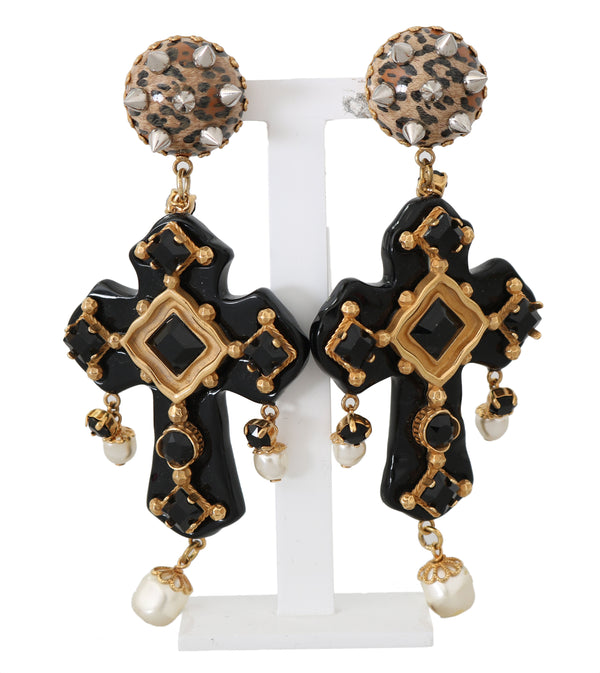 Gold Crystal SICILY Clip On Dangling Cross Earrings