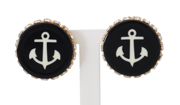 Gold Brass Clear Crystal Black Anchor Clip Earrings