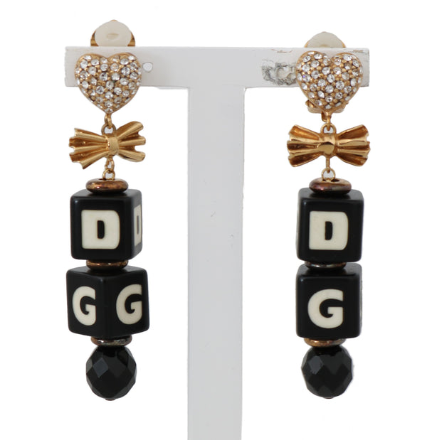Gold Clear Crystal DADI Clip On Dangling Drop Earrings