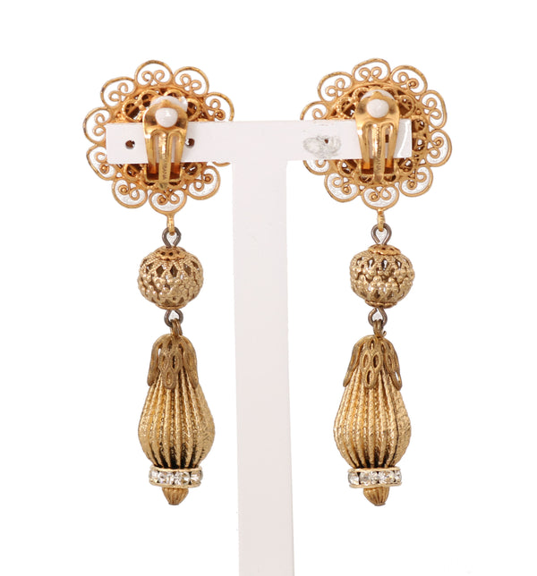 Gold Clear Crystal Clip Earrings