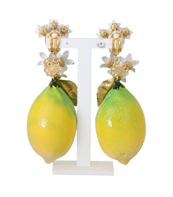 Gold Crystal LEMON Floral Clip On Earrings