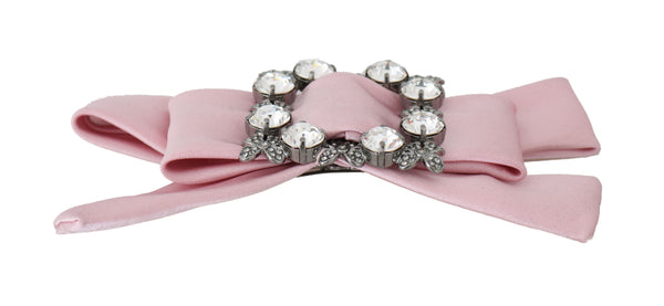 Pink Bow Clear Crystal Gray Flower Hair Clip